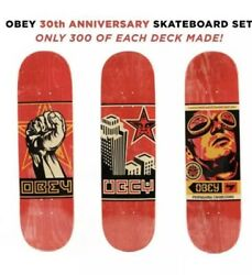 Set Of 3 Planche Obey Shepard Fairey Skate Deck Limited Ed Sold Out 30th Anniv