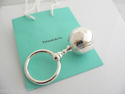 And Co Silver Baseball Baby Rattle Teether Rare Sports Heirloom Gift Bag