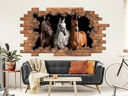 Horse Hole In The Decals Animals Vinyl Sticker Mural Horse Above Bed Decor Nt35
