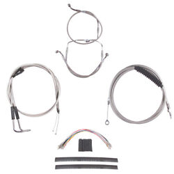 Stainless +10 Cable And Brake Line Cmpt Kit 2002-2006 Harley Touring W/cruise