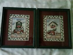Rare Vintage Home Interior Set Of 2 Apple Birdhouse Pictures With Green Frames
