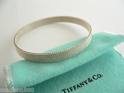 And Co Silver Somerset Mesh Weave Bangle Bracelet Gift Pouch Love Art
