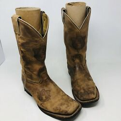 Nocona Boots Auburn Au Stamped Cowboy Boots Square Toe Size 9 Ee Genuine Boots