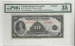 1935 Banque Du Canada Bc-8, 10 Osb/tow Sn F287336 , Pmg Vf-35 French