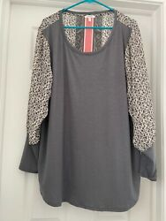 Women's Maurices Gray with Floral Design Blouse - plus 2 $10.00