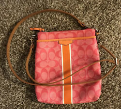Coach Pink and Orange Patent Leather Messenger Crossbody Bag W Non Coach Strap $19.99