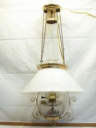 Slant Milk Glass Shade Hanging Oil Fluid Lamp Parlor Light Cone Electrified