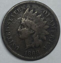 1868 Indian Head Cent Penny, Better Date Collector Coin. Partial Liberty