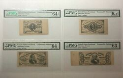 4 Pmg Graded Counterfeit Detector Notes 3rd Issue Fractional Currency Rare Set