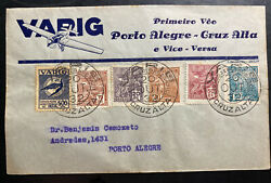1932 Cruz Alta Brazil Airmail First Flight Cover Ffc To Porto Alegre Varig