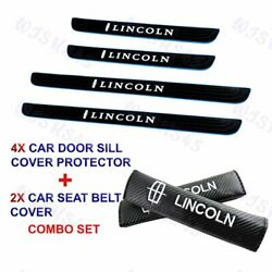 X4 Blue Border Car Door Scuff Sill Cover Panel Step Protector COMBO For Lincoln