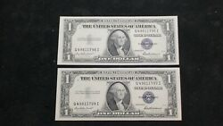 Two 1935 F Silver Certificate Consecutive Numbered Notes 1 Bills Priced To Sell