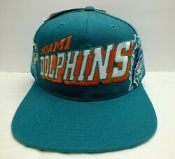 Miami Dolphins 90and039s Grid Vintage Snapback Hat Licensed Nfl Cap New Nwt