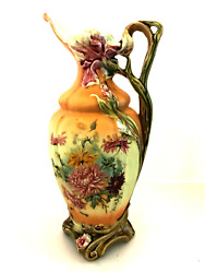 Porcelain Pitcher Vase Hand Painted Floral Light Green Inside 12 Inches Tall