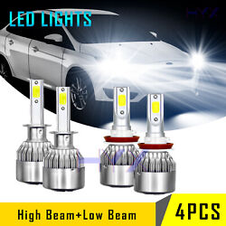 Combo Led Headlight Bulbs Fit For Ford Focus 2012-18 High Low Beam White 4pcs