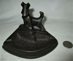 ANTIQUE # 317 HUBLEY TOY CO USA CAST IRON TERRIER DOG STATUE ASHTRAY HOLDER TRAY