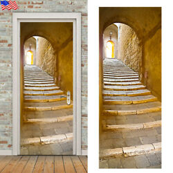 3D Door Sticker Wrap Wall Sticker Mural Wallpaper Self Adhesive PVC Removable US