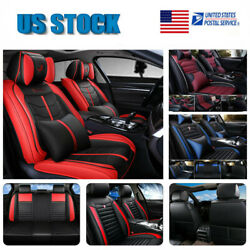 Universal Pu Leather Car Suv Seat Covers 5 Seats Front+back W/ Pillows Full Sets