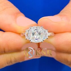 14k Solid White Gold Cushion And Half Moon Moissanite Engagement Ring 3.00ct