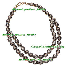 925 Sterling Silver Rose Cut Polki Antique Vintage Style Diamond String Necklace