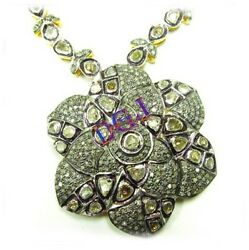 925 Sterling Silver Antique Style Rose Cut Polki Natural Diamond Necklace Set