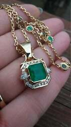 3.60Ct Emerald Diamond 14k Yellow Gold Over Women#x27;s Pretty Pendant Without Chain $91.99