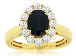 2.22ct Diamond And Aaa Sapphire 14kt Yellow Gold 3d Oval And Round Flower Fun Ring