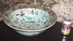 16 1/2 Antique Chinese Export Rose Famille Celadon Canton Butterfly Punch Bowl