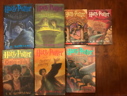 Rare Harry Potter First American Edition Hardcover Books And Two Paperback Books