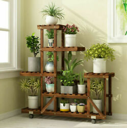 6 Tier Wood Plant Stand Vertical Carbonized Multiple Holder Indoor Outdoor Patio