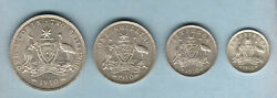 Australia 1910 Silver Set Threepence Sixpence Shilling And Florin. Full Lustre