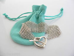 And Co Silver Peretti Open Heart Mesh Bracelet Bangle Gift Pouch Love