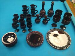 Cape Cod Red Avon Collection Set. Plates Bowls Coffee Cups Decanters Goblet