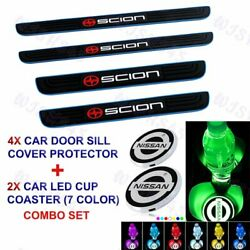 For SCION Blue Border Car Door Scuff Sill Cover Panel Step Protector Coaster