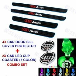 For Audi Blue Border Car Door Scuff Sill Cover Panel Step Protector LED COASTER