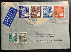 1951 Leipzig East Germany Ddr Cover To Brooklyn Usa Peace Issue Stamp Sc 71-74