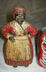 Antique Spencer Connecticut Toy Co Cast Iron Wedge Lady Statue Woman Doorstop
