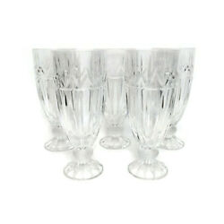 Set Of 5 Cut Crystal Glass Tall Iced Tea Drinking Glasses Barware Kitchen 7.9 H