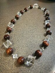 Miriam Haskell Wood Lucite Delight Beaded Necklace - Rare Vintage