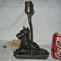 ANTIQUE HUBLEY TOY BLACK SCOTTISH TERRIER DOG DOORSTOP CAST IRON LAMP NO SHADE
