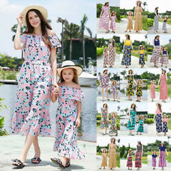 Family Matching Clothes Women Girls Mother Daughter Floral Dress Outfits Summer $16.14