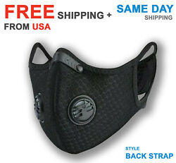 Cycling Sport Face Mask With Active Carbon Filter Breathing Valves Washable $14.88