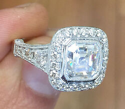 14k White Gold Asscher Forever One Moissanite And Diamond Engagement Ring 3.50ct