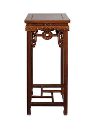 Chinese Medium Brown Wood Square Pedestal Plant Stand Table Cs3260