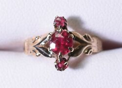 Antique Rose Gold Red 3-stone Size 4.25 Pinky - Claw Setting