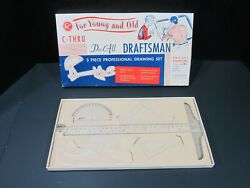 Vintage C-thru Do-all Draftsman Drawing Set - Triangles, Ruler, Protractor - Box