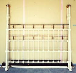California King Size Iron And Brass Four Poster Bed With Rails - Vintage Canopy