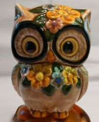 Ceramic Owl Piggy Bank Brown Floral Decorations With Stopper
