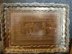 Antique Persian Solid Brass Silver Overlay Cairoware Middle Eastern Tray.