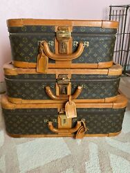 Authentic LOUIS VUITTON HARD SIDED Vintage Set of 3 Luggage Suitcase Travel Bags